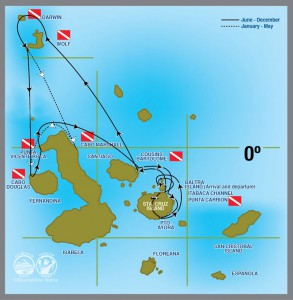 Galapagos Aggressor III itinerary map