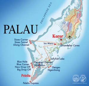 Palau Aggressor II itinerary map