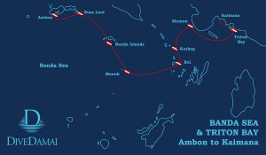 Damai II Ambon to Kaimana 2016 itinerary map